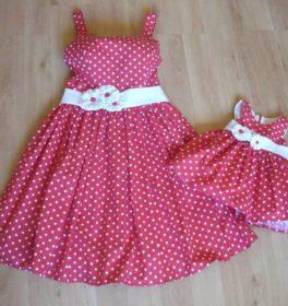 Vestiti realizzati con Cotone a pois Rosso e Bianco