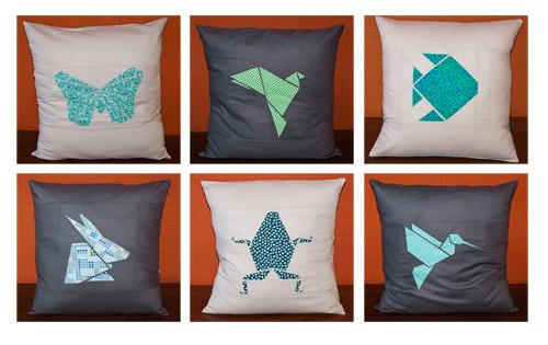 Cuscini con esempi di patchwork origami
