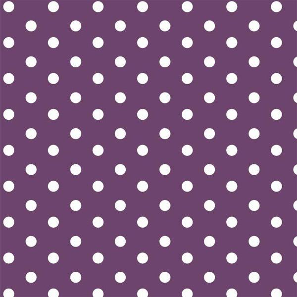 Tessuto Cotone a pois Viola e Bianco