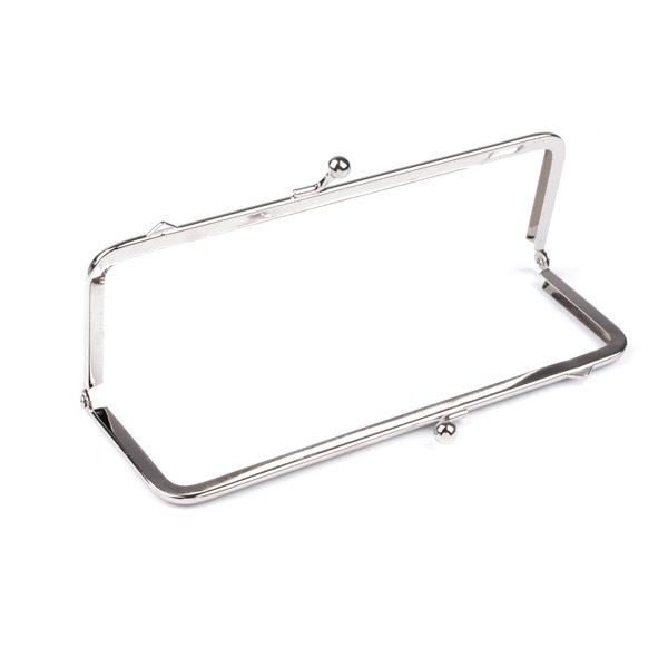 Chiusura per pochette rettangolare 7x18 cm argento - struttura aperta