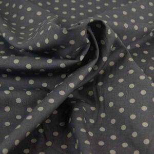 cotone grigio scuro a pois