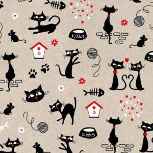 Canvas Cotone con gatti