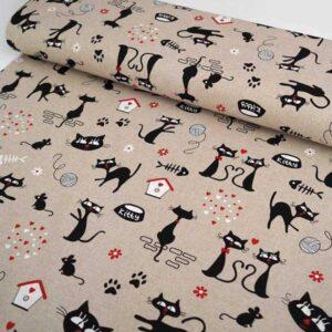 Pannello tessuto Cotone con gatti