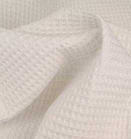 Tessuto cotone nido d'ape bianco