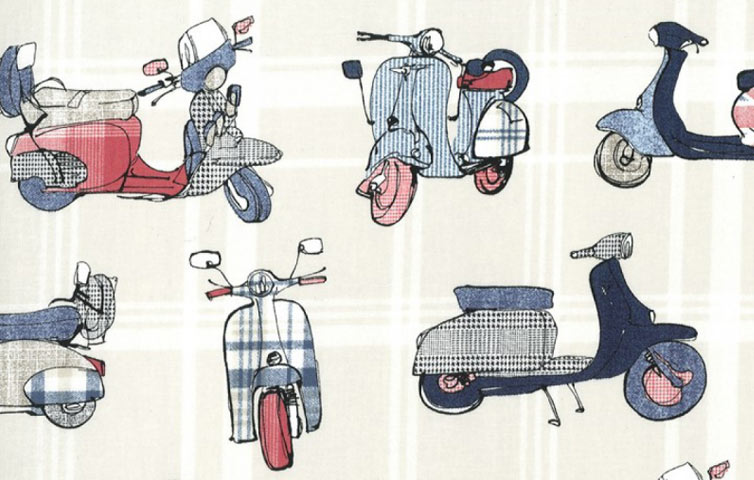 Tessuti on line fantasia Vespa