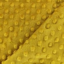 Tessuto Minky Dot Giallo Mostarda pile, peluche