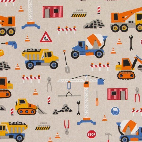 Cotone Canvas con Camioncini