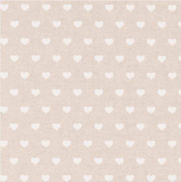 Cotone Canvas con Cuori Bianchi