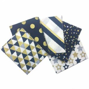 Fat Quarters Metallic Gold Navy