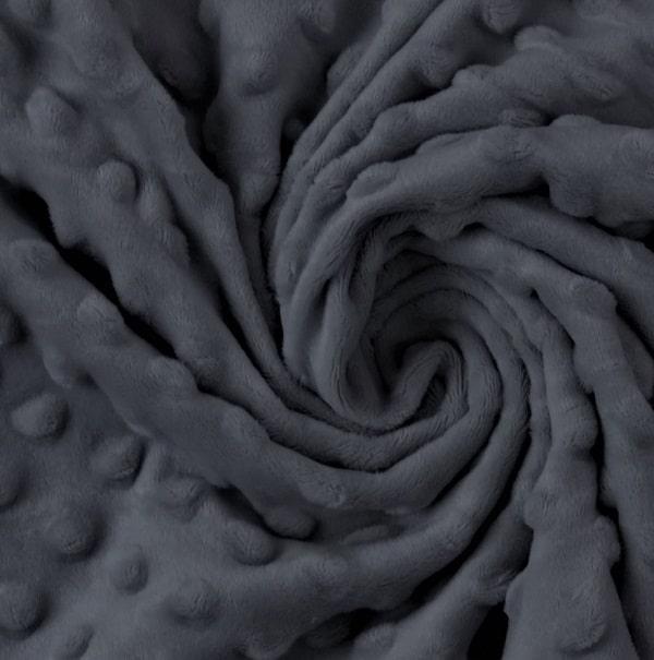 Tessuto Minky Dot Grigio Scuro pile, peluche