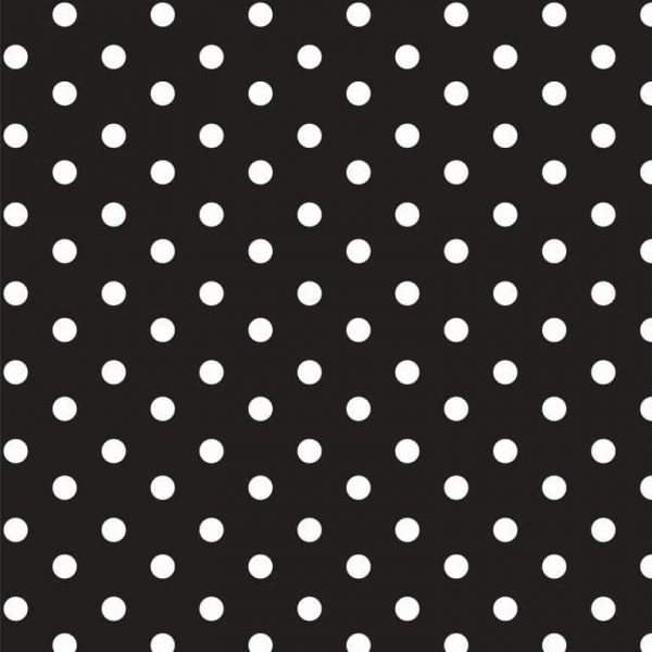 Tessuto Cotone a pois Nero e Bianco