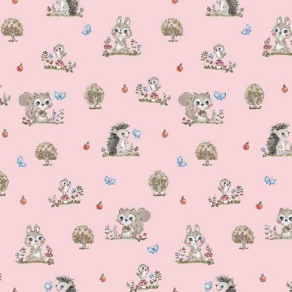 Cotone Rosa con Scoiattoli e Coniglietti