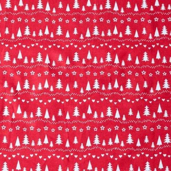 Cotone natale Trees Red