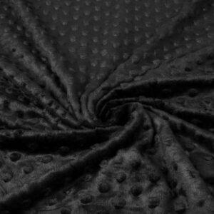 minky dots pile nero