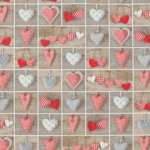 Cotone Canvas Natalizio Hearts
