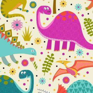 Cotone americano con Dinosauri