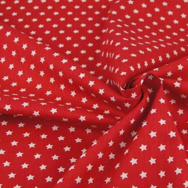 Cotone con Stelline rosso e bianco
