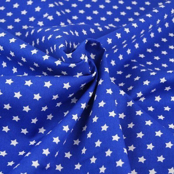 Cotone con Stelline Blu Cobalto e bianco