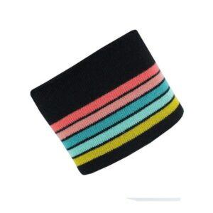 Tessuto per Polsini, collo e girovita Nero a righe Colorate
