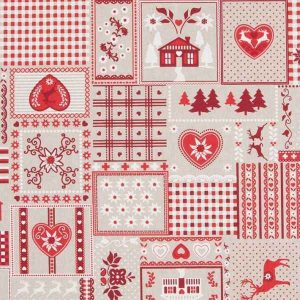 Cotone Canvas Christmas Patchwork Red