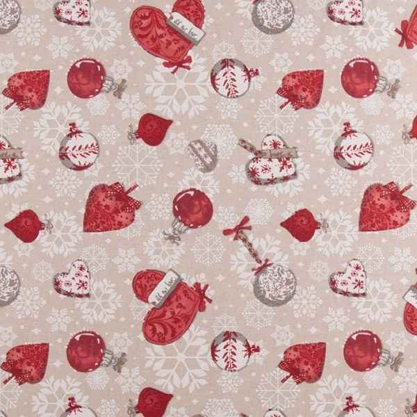 Cotone Canvas Natalizio Hearts and Balls