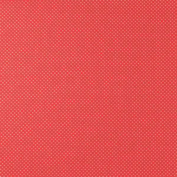 Cotone Canvas Rosso a Pois Dorati
