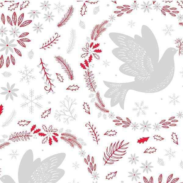 Cotone Natalizio Christmas Dove Red