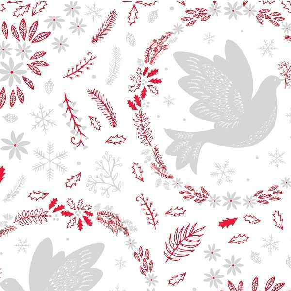 Cotone Natalizio Christmas Dove Red
