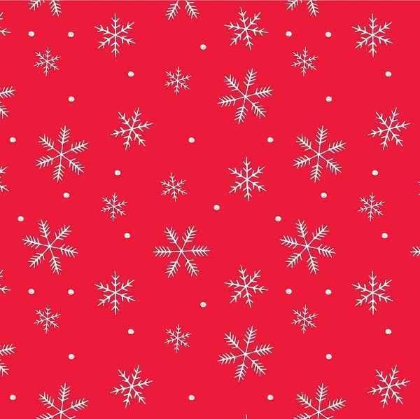 Cotone Natalizio Rosso con Fiocchi di Neve