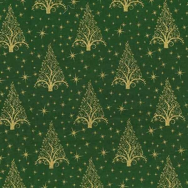 Cotone Natalizio Verde con Alberelli Dorati
