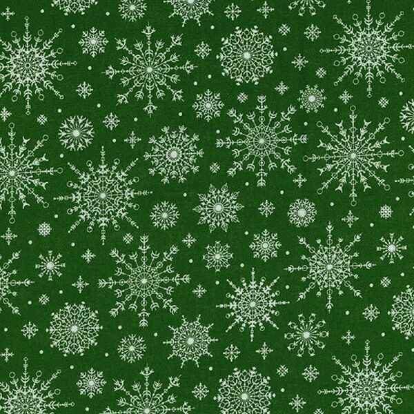 Cotone Natalizio Verde con Fiocchi di Neve