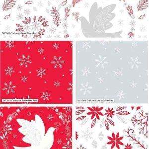 Fat Quarter Natalizio Christmas Dove Red