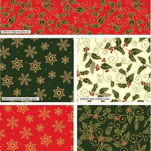 Fat Quarter Natalizio Holly Metallic Christmas
