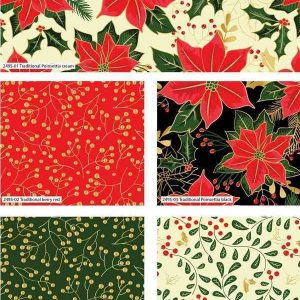 Fat Quarter Natalizio Poinsettia Metallic Christmas