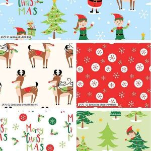Fat Quarter Natalizio Santa and Elves