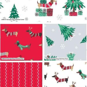Fat Quarter Natalizio Sausage Dogs Christmas