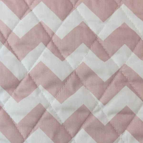 Trapuntino cotone a zig zag rosa antico e bianco