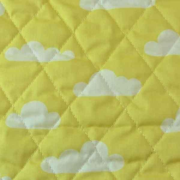 Trapuntino cotone con nuvolette giallo e bianco