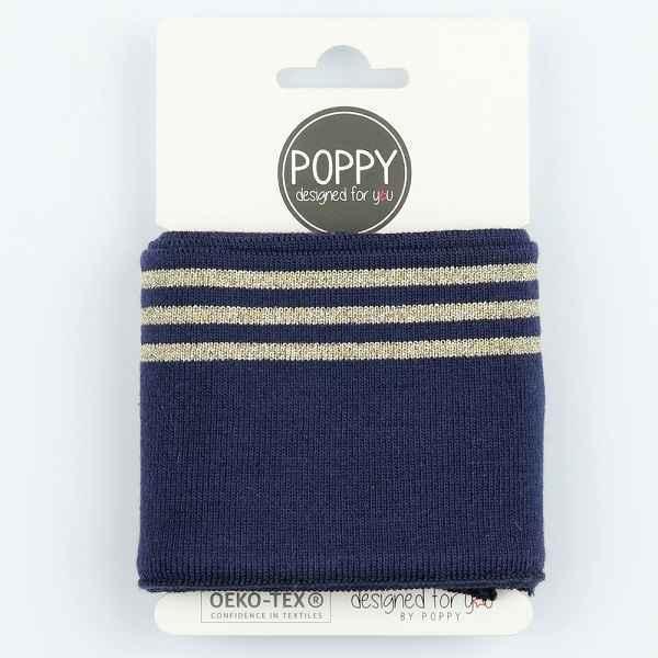 Tessuto in maglia per Polsini Navy con Righe Dorate