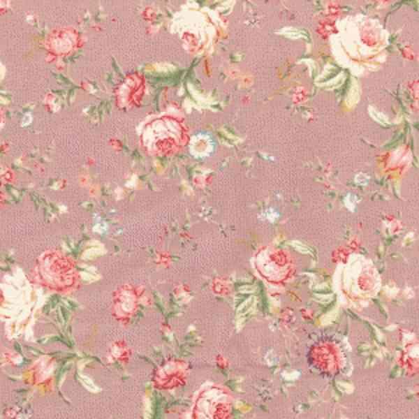 Cotone Shabby Rosa Antico con Fiori Vintage
