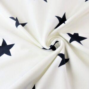 Felpa garzata di Cotone Panna con Stelle Blu Navy