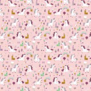 Cotone Rosa con Unicorni