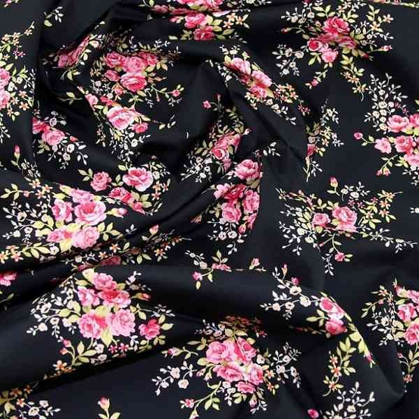 Cotone nero con rose