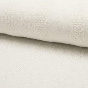 Cotone Ricamato Panna con Fiori e Rombi
