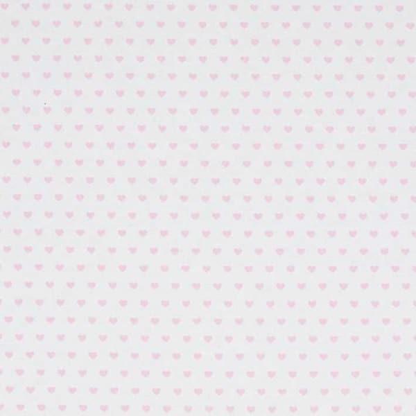 Cotone Canvas bianco con cuoricini rosa