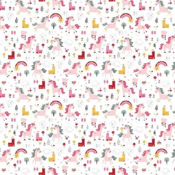 cotone bianco con unicorni