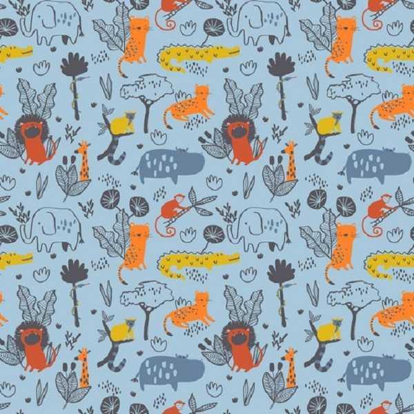 cotone blu wild animals