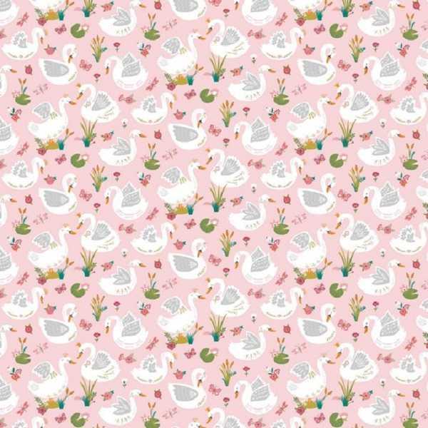 cotone rosa con cigni