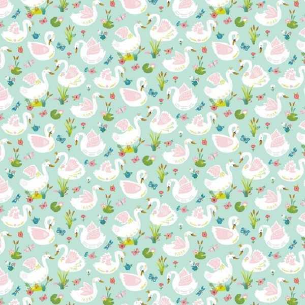 cotone verde menta con cigni