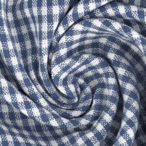 Tessuto a Quadretti Blu Jeans